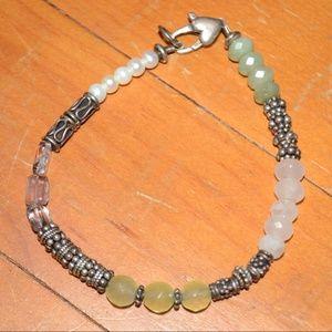 Jewelry - Sterling Silver Faceted Jade Quartz Bead Bracelet